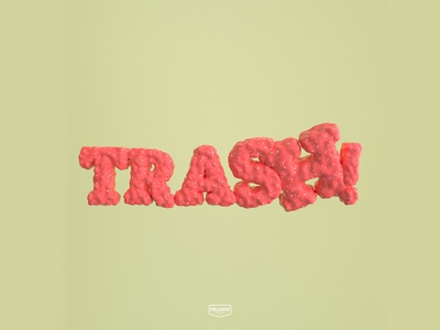 3D Trash! color logo branding brand lettering typography candy cinema4d 3d