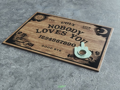Ugly Board design cinema4d 3d ouija board ouija wood