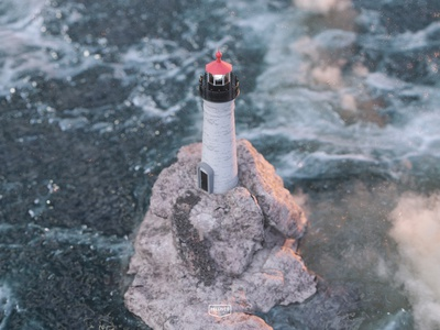 Lighthouse stone light modeling design octane cinema4d 3d lighthouse ocean sea