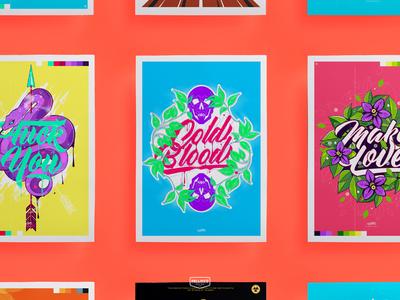Posters flower skull snake illustration color lettering typography design art posters poster