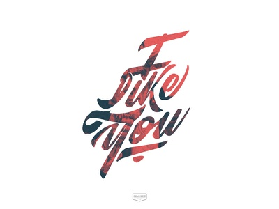 I Like You vector calligraphy red poster color branding brand logo lettering typography