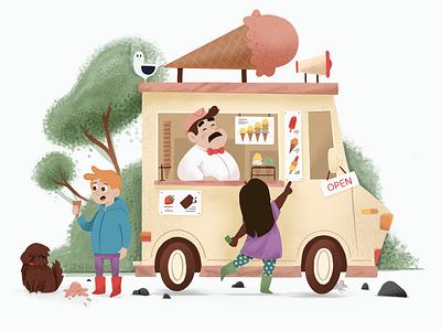 Ice cream truck icecream ice cream truck kids children book illustration children illustration children book children art children