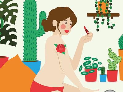 Lipstick tatoo pillow woman plants cat girl lipstick