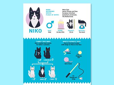 Nikos Infographic kitten toys drawing illustration infographic cat nikos