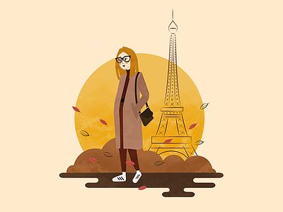 Paris sundown woman leafs fashonista girl autum eifeltower paris