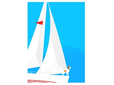 Sailingboat sailingboat blue dog sail boat sailing