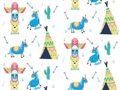 Pattern babypattern grass totem cactus arrow tipi pattern horse