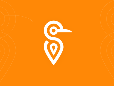 Turboo Delivery Logo flat app vector illustration colorful logodesign white orange icon brand logo location bird