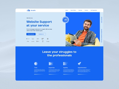 Lacarte Web Services Landing Website ux ui brand design logo webdesign web design happy blue landing website seo service services web