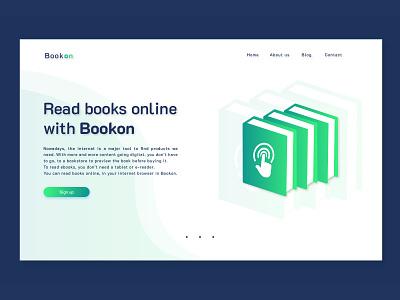 Bookon Landing Page ux ui branding logo illustration typography design landing page landing online books book read