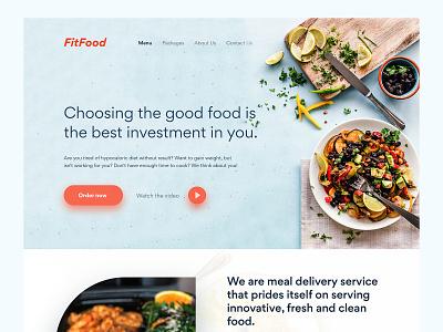 FitFood - Clean Web UI/UX clean modern ui  ux website builder mockup website delivery meal investment good fit food