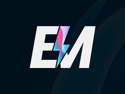 Personal Logo EM design branding logo brand black  white gradient white colorful color minimal logo alphabet logo a day logo 3d logo 2d