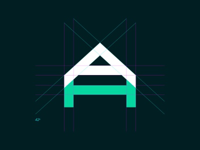 AH Logo Grid brand typography design logo grid layout ha ah house rectangular grid logo grid