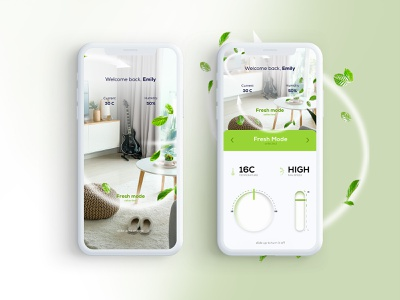 Smart Room for Air Conditioners ux colorful ui design illustration smarthome mobile fresh conditioner air room smart