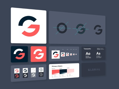 Glorial Brand Style Guide vector grid mobile colorful icon typography design logo identity branding glorial styleguide style brand