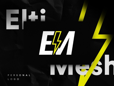 EM Personal Logo Rebrand symbol gradient energy black yellow personal rebranding brand design brand rebrand logo