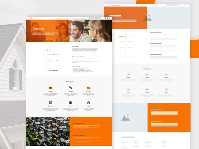 About Us Website Design with Wireframe orange gradient brand web design webdesign web userinterface user interface wireframe website design website about us about