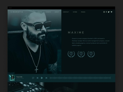 Cinematic Theme - About Page ui producer music wordpress design wordpress web design