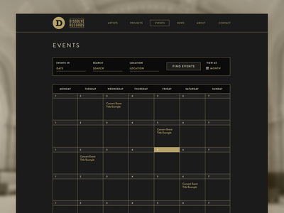 Events Page record label brandon grotesque typography ui minimal