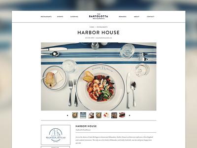 Bartolotta's - Restaurant Details Page restaurant website web design minimal photography food blue brandon grotesque seafood