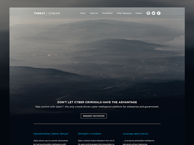 Threat / Stream - Home Page network dots web design photograph minimal background mountains city aerial clouds ui ux