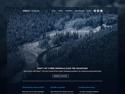 Threat / Stream - Home Page - alt web design photograph minimal background creek trees nature whistler ui ux