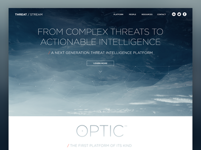 Threat / Stream photography mountains nature home page layout web design design gotham extra light security typography network
