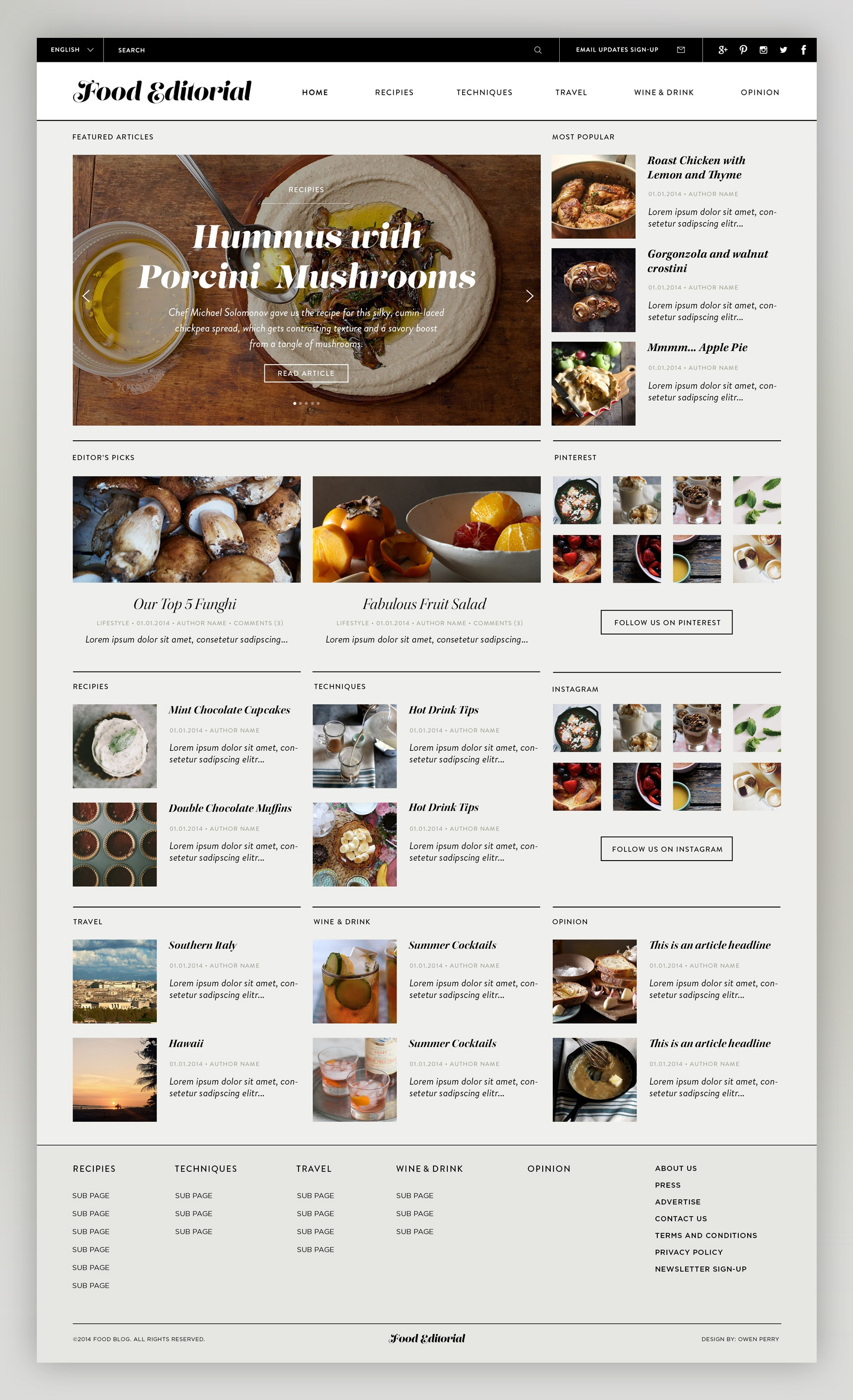 Food editorial design