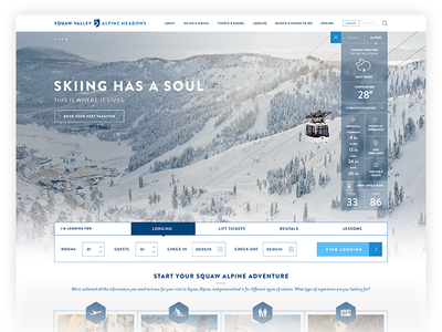 Squaw Valley & Alpine Meadows home page skiing web design website widget weather widget