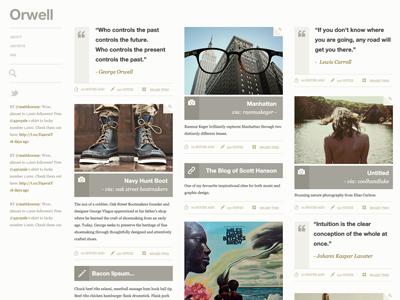 Orwell - tumblr theme proposal tumblr web design editorial template helvetica georgia photography grid