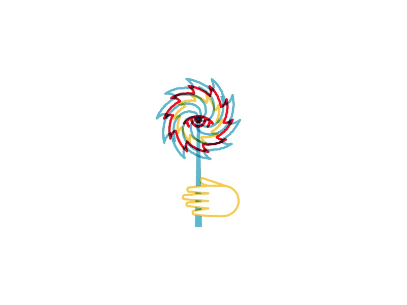 Off the Art board illustration windmill eye hand