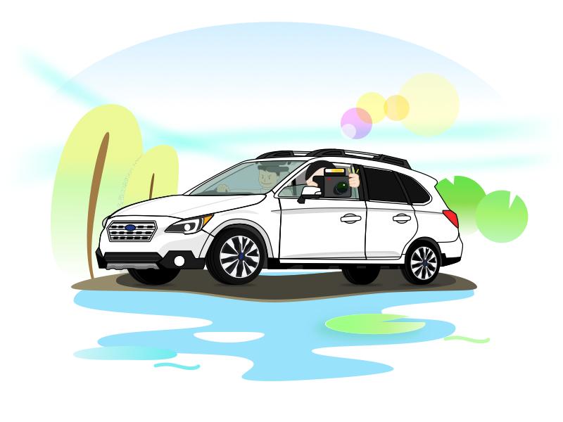 Shaoxing driving tour green car driving tour travel illustration