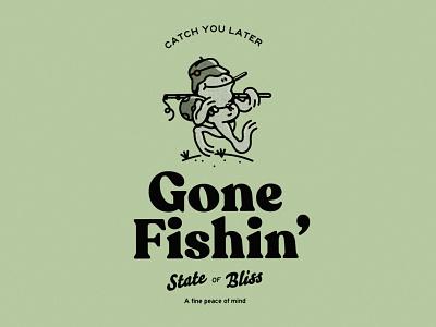 Gone Fishin' halftone design fun fishing illustration