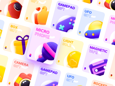 Live gift ps ui ufo rocket microphone magnetic tape live like light bulb illustration icon icons gift gamepad entertainment card camera box app