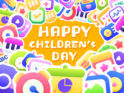 Happy Children's Day design colourful cute happy children child icons icon illustration