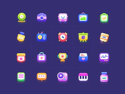 Icons design colourful cute happy children child icons icon illustration