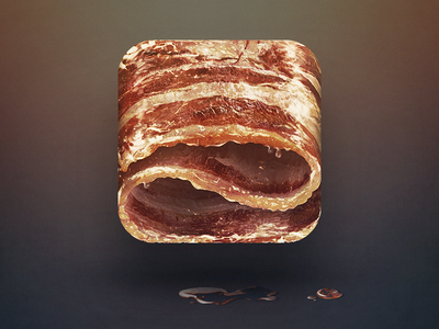 Bacon design food nomnom yummy fat pork pig illustration ios icon iphone apple ipad bacon sketch drawing grease