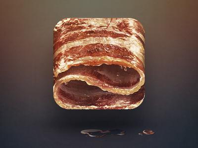 Bacon design food nomnom yummy fat pork pig illustration ios icon iphone apple ipad bacon sketch drawing grease