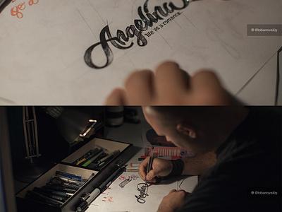 Angelina Logo lettering sketch rough logo identity calligraphy brush marker pen