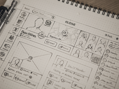 close web web app close layout sketch rough drawing wireframe wire frame profile icon map chat photo search