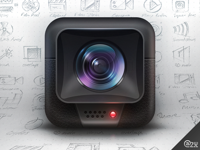 Cinematic Icon ios camera cinematic icon iphone apple ipad sketch drawing lens video hood skeuomorphic