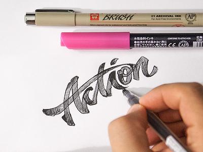 Action lettering sketch rough logo identity calligraphy brush marker pen