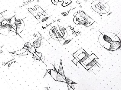 HoverChat drawing design sketch mark app identity illustration logo branding icon
