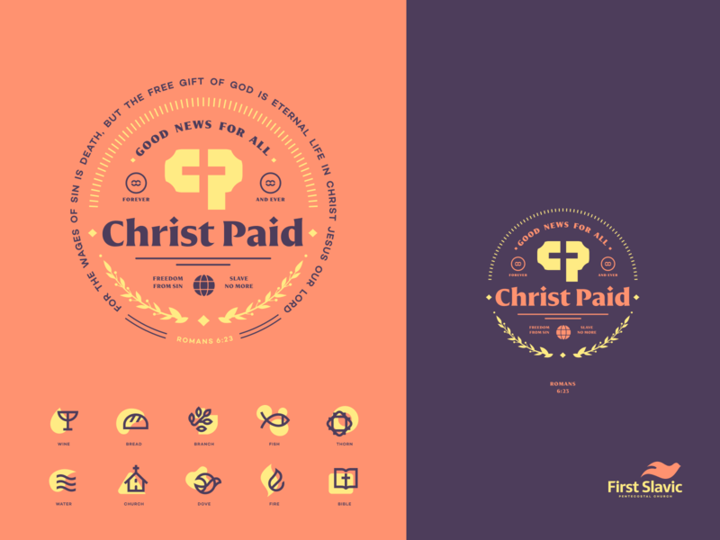 Christ Paid church patch badge mark identity illustration logo branding icon