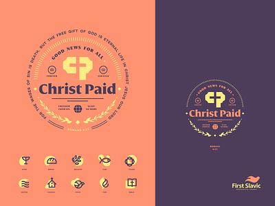 Christ Paid church patch badge mark identity illustration logo branding icon