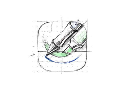 GoodNotes icon ios iphone icon process pen marker highlighter paper stroke metal plastic
