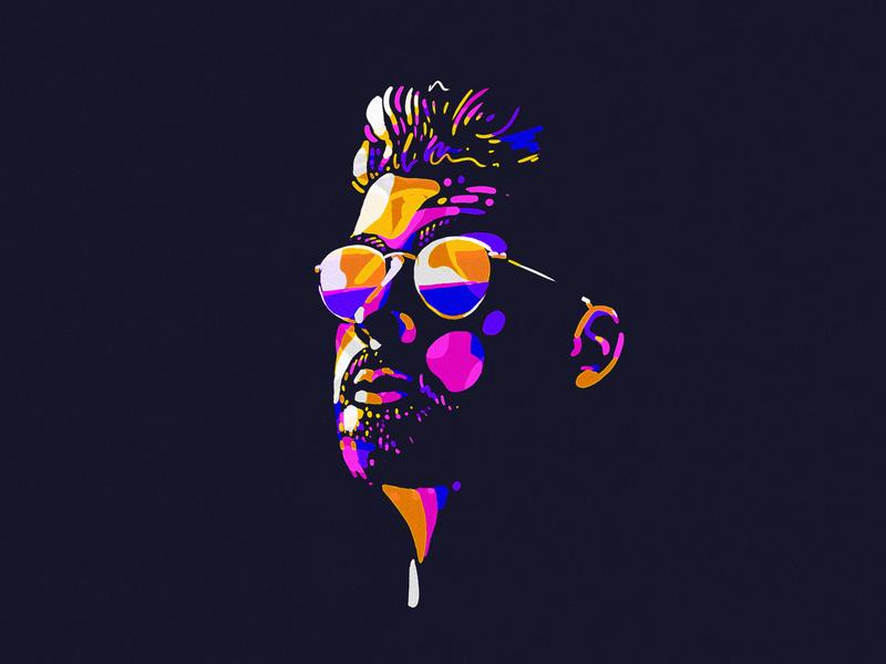 Stian glasses dude painting design illustraion
