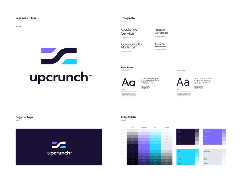upcrunch landing design mark website app identity illustration logo branding icon