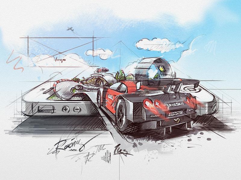 racing app *sketch racing car sketch pencil pen paint ink lettering iphone ios