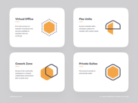Cowork Hive bee hive logo set icons office cowork app card
